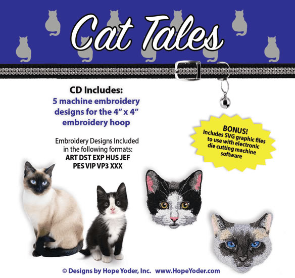 HY CAT TALES EMBROIDERY CD/SVG FILES