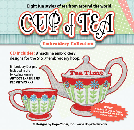 HY CUP OF TEA EMBROIDERY CD/SVG FILES