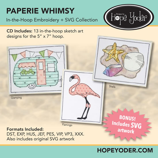 HY PAPERIE WHIMSY EMBROIDERY CD/SVG FILES