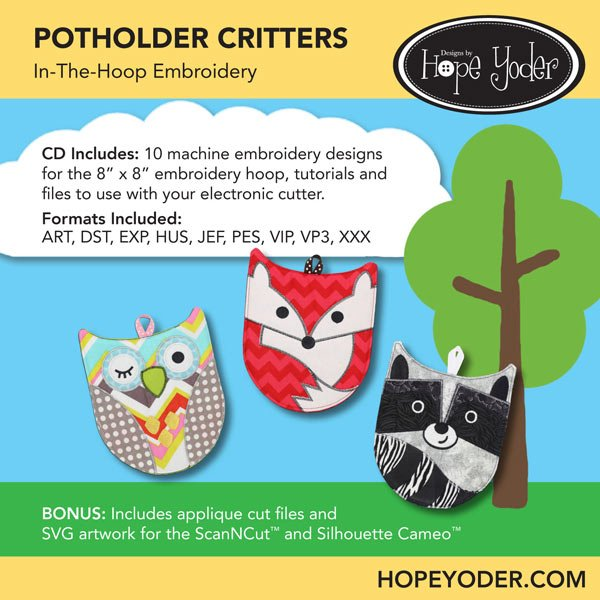 HY POTHOLDER CRITTERS EMBROIDERY CD/SVG FILES
