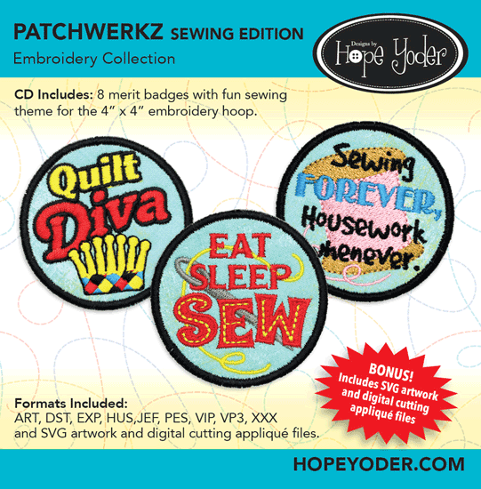 HY PATCHWERKZ SEWING EDITION EMBROIDERY CD/SVG FILES