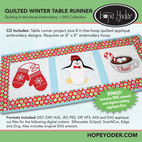 HY QUILTED WINTER TABLE RUNNER EMBROIDERY CD/SVG FILES