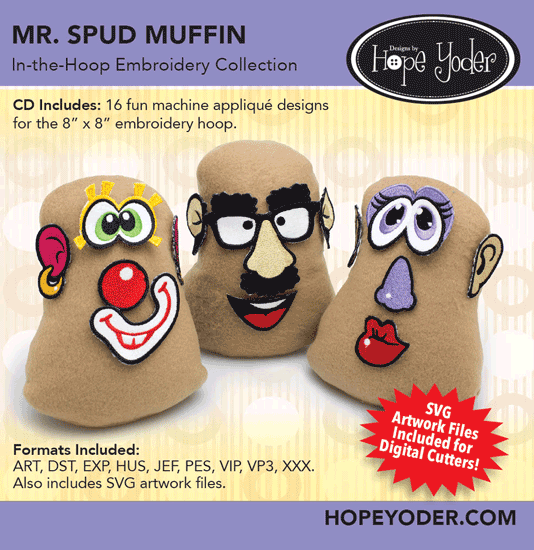 HY MR. SPUD MUFFIN EMBROIDERY CD/SVG FILES