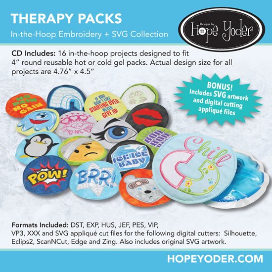 HY THERAPY PACKS EMBROIDERY CD/SVG FILES