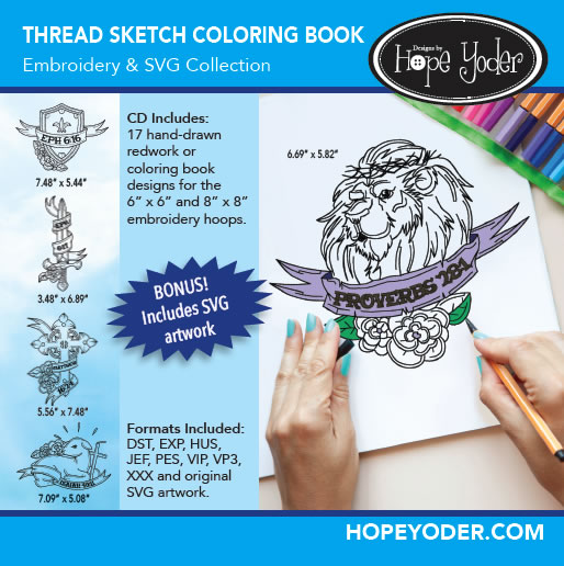 THREAD SKETCH COLORING BOOK EMBROIDERY CD/SVG FILES