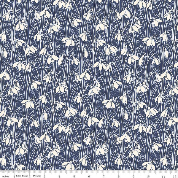 Hesketh Flowers on Dark Blue:  The Hesketh House Collection - Liberty Fabric by Riley Blake
