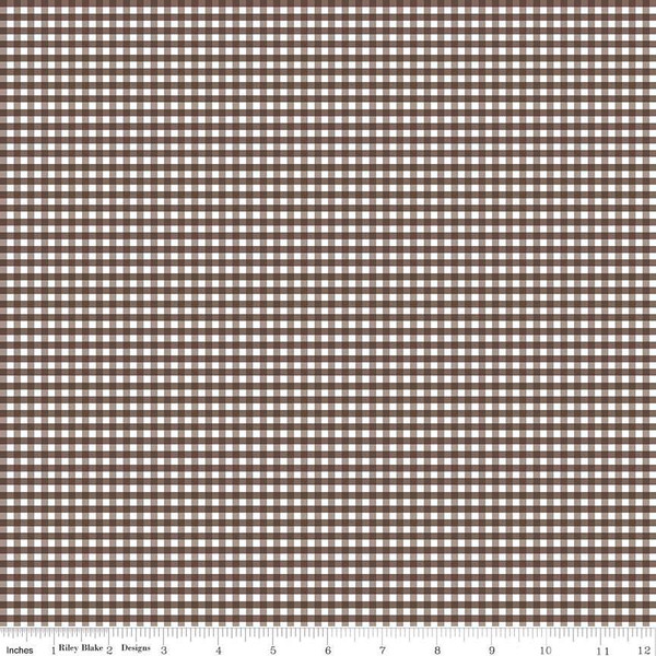 1/8 inch Small Gingham Check Brown