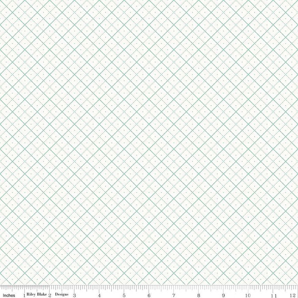 Bee Backgrounds Grid Teal, fat quarter
