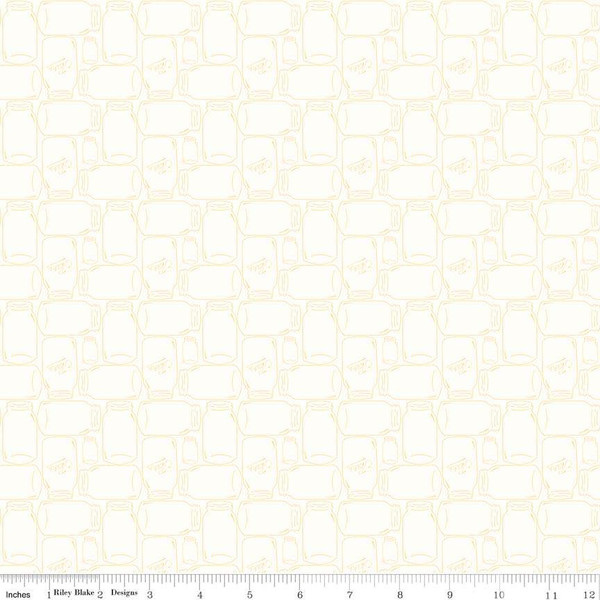 Bee Backgrounds Canning Jar Yellow by Lori Holt C6385