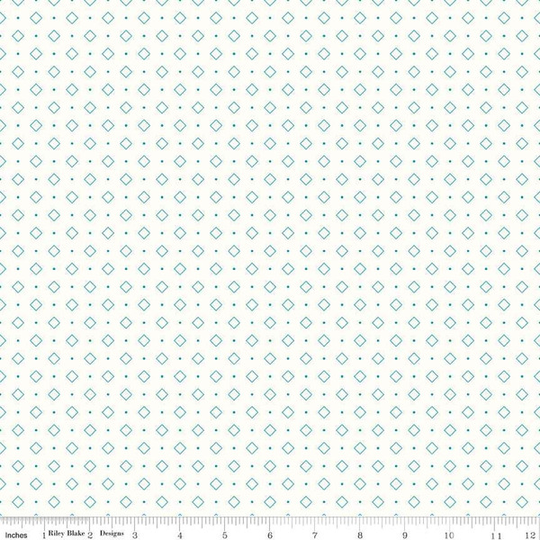 Bee Backgrounds Diamond Turquoise  by Lori Holt C6386