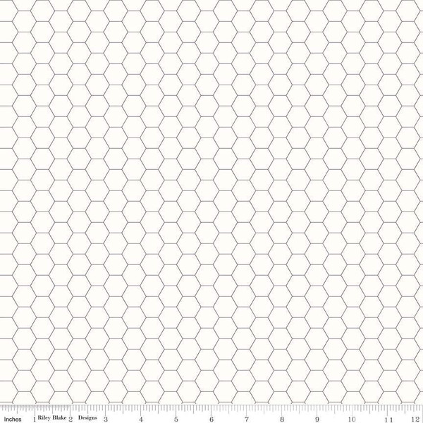 Bee Backgrounds Honeycomb Gray, fat quarter