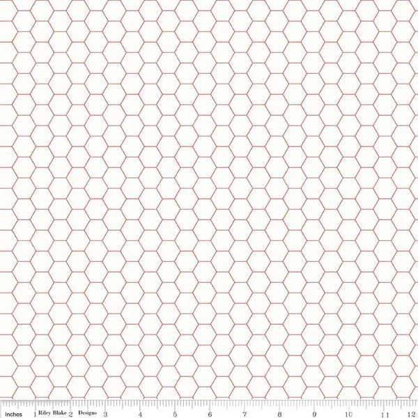Bee Backgrounds Honeycomb Red, fat quarter