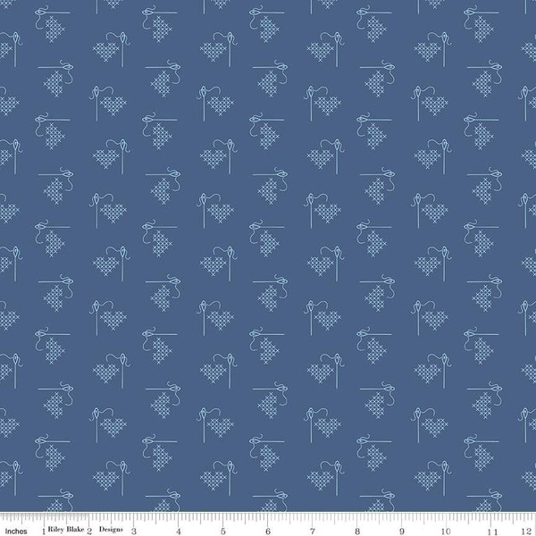Bee Basics Heart Blue, fat quarter