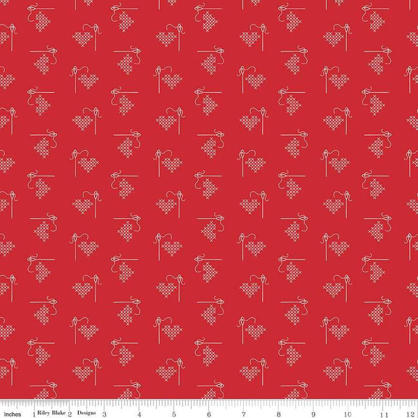 Riley Blake Bee Basics - Cross Stitched Hearts in Red