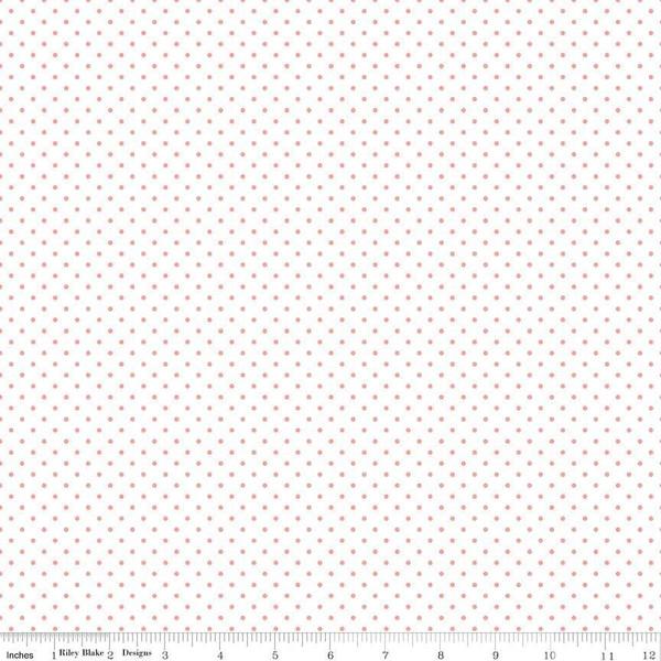 RILEY BLAKE SWISS DOT CORAL ON WHITE