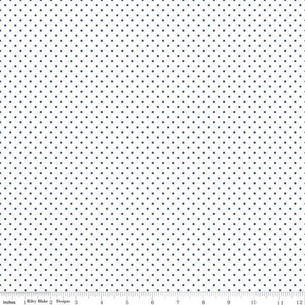 Swiss Dot On White Denim