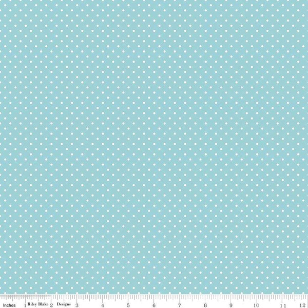 White Swiss Dot On Aqua