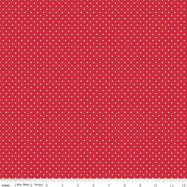 White Swiss Dot On Red