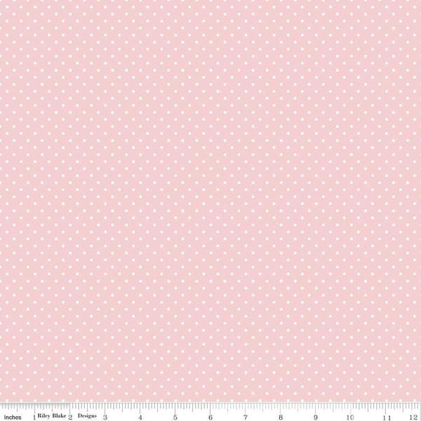 White Swiss Dot On Baby Pink
