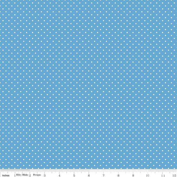 White Swiss Dot On Medium Blue