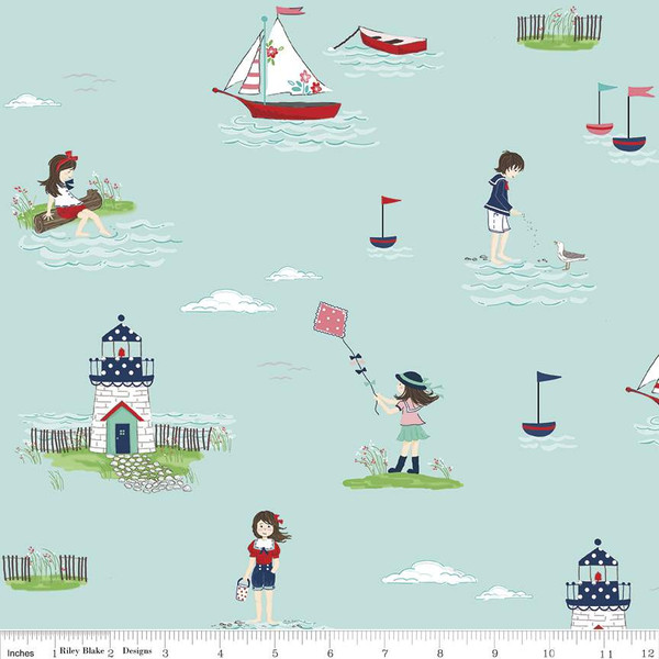 Boats, Lighthouses, and Children playing in the water on Aqua:  Seaside by Tasha Noel for Riley Blake