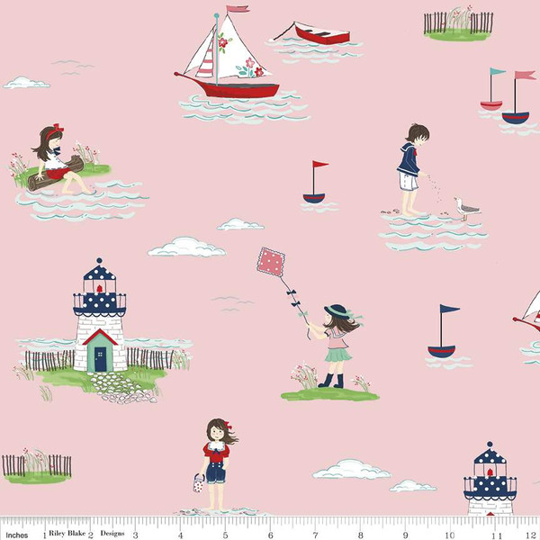 Boats, Lighthouses, and Children playing in the water on Pink:  Seaside by Tasha Noel for Riley Blake