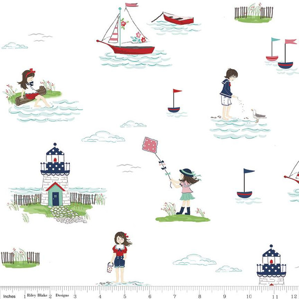 Boats, Lighthouses, and Children playing in the water on White:  Seaside by Tasha Noel for Riley Blake