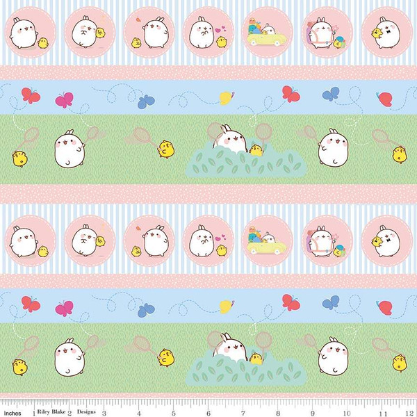 Molang Character Stripes in Pink, Blue, and Green by Hayanori for Riley Blake