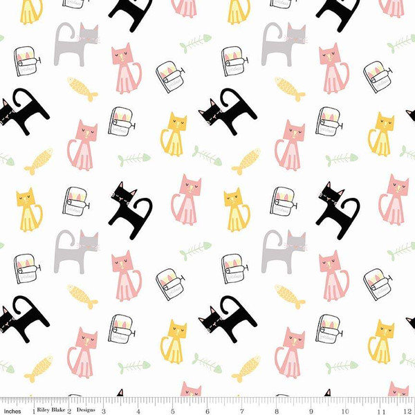 Rectangular Cats in Pink, Yellow, Gray and Black on White:  Meow and Forever by My Mind's Eye for Riley Blake Fabrics