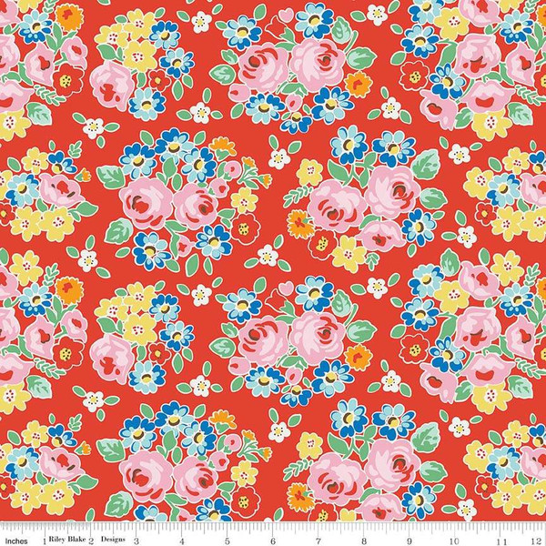 Bluebirds on Roses<br>Main - C7940-RED