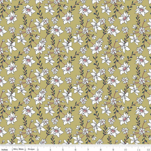 Sweet Stems on Green by Sue Daley Designs with Gabrielle Neil for Penny Rose Fabrics