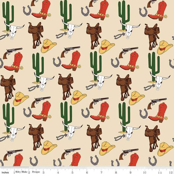 F-CB-RBL-COW-03  Riley Blake-COW - Cowboy Country-03-Cream w/ Cactus,Boots,Guns