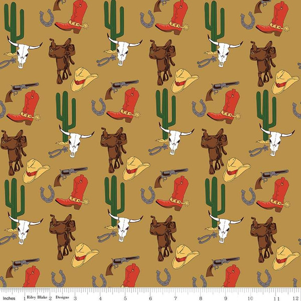 Cowboy Gear on Tan - Hat, Gun, Saddle, Horseshoe, Boots, Spurs, and Cactus:  Cowboy Country by Carta Bella Paper Co for Riley Blake
