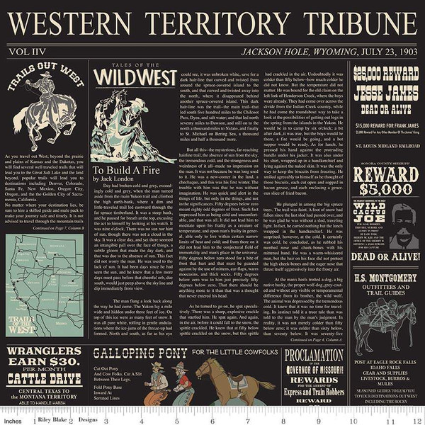 Western Newspaper Print on Black:  Cowboy Country by Carta Bella Paper Co for Riley Blake