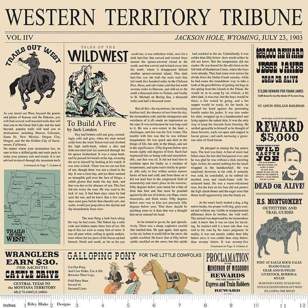 Cowboy Country Newsprint - Cream