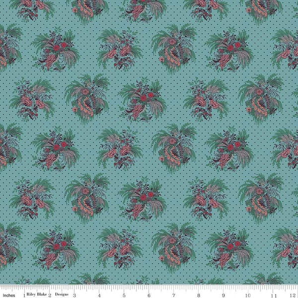 Small Floral Spray with Feathers on Teal:  Charlotte by Michelle Yeo for Penny Rose Fabrics
