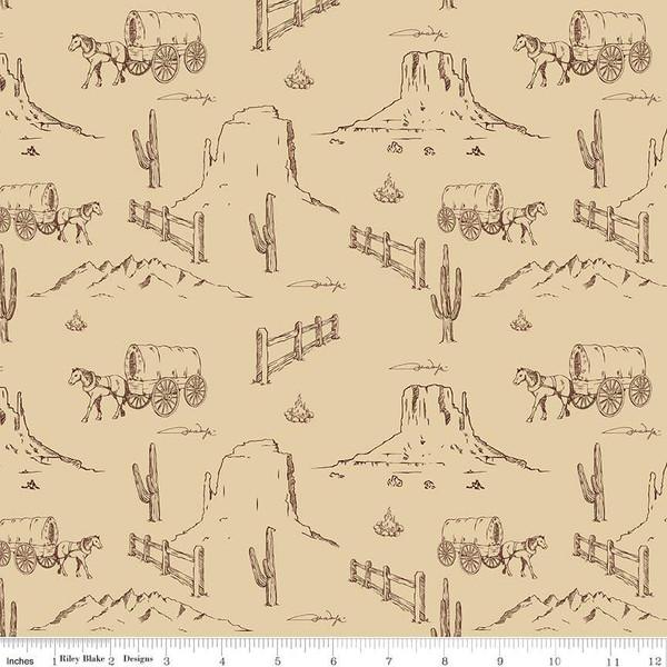 Riley Blake-John Wayne Western Landscape C8572 Tan