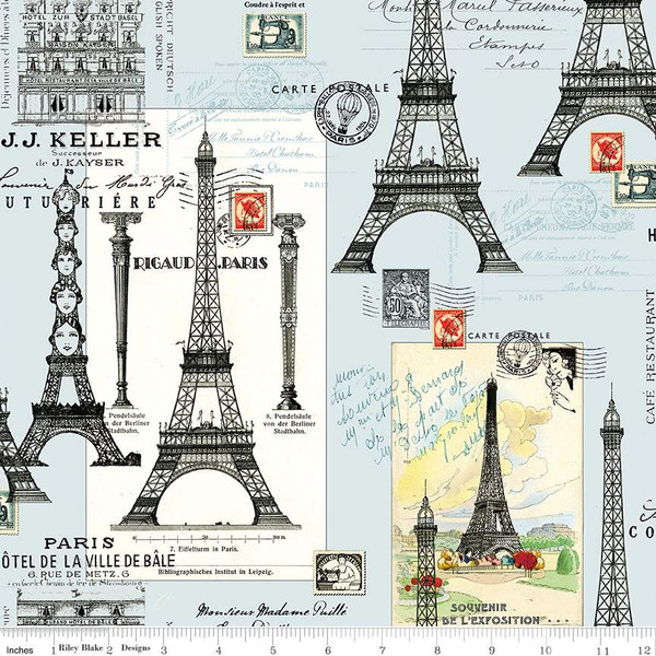 Couturiere Parisienne Eiffel Tower Blue