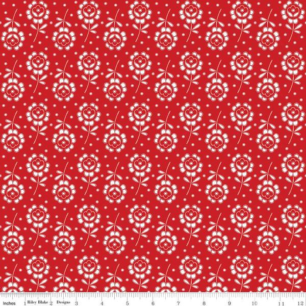 C8843-RED Fleurs Coupees Couturiere Parisienne J Wecker Frisch Riley Blake