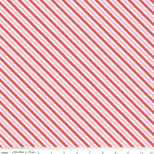 Love Letters Stripe Pink Fabric by Riley Blake