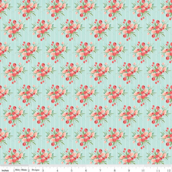 Flower Market Bouquets Mint Fabric by Riley Blake