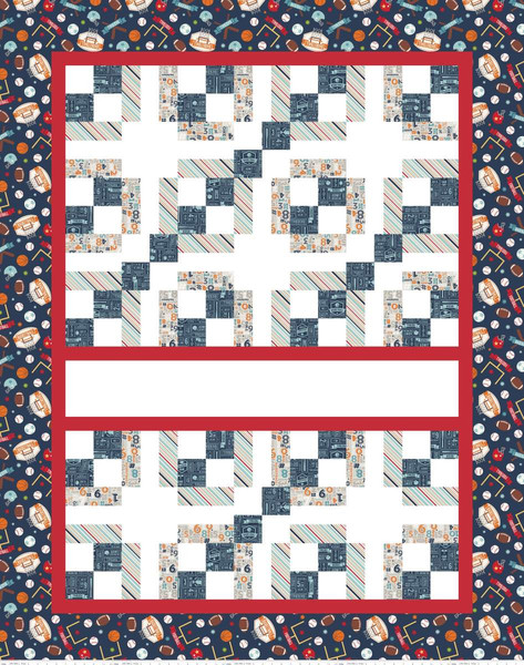 Game Day 56x71 Express Yourself Quilt Panel & fusible fabric KIT