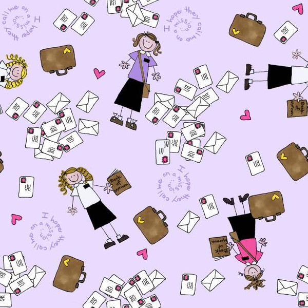 Sister Missionaries on Lilac:  Missionary Girl by Amy Dot for Alpine Fabrics