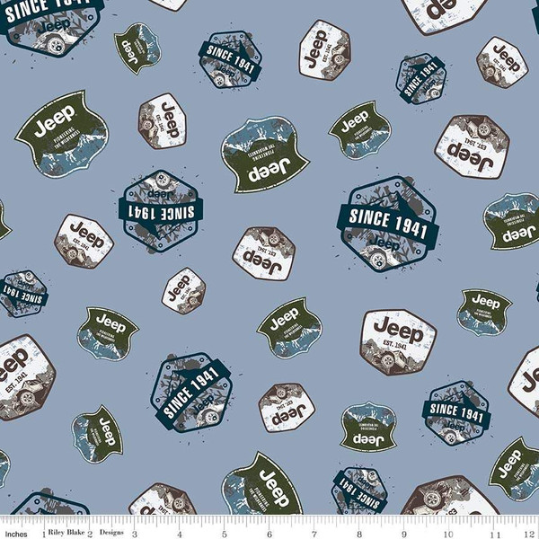Flannel Jeep Badges Blue by Riley Blake