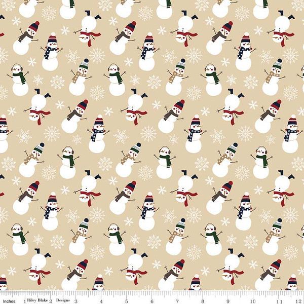 Flannel Let it Snow Snowman Tan - F7771