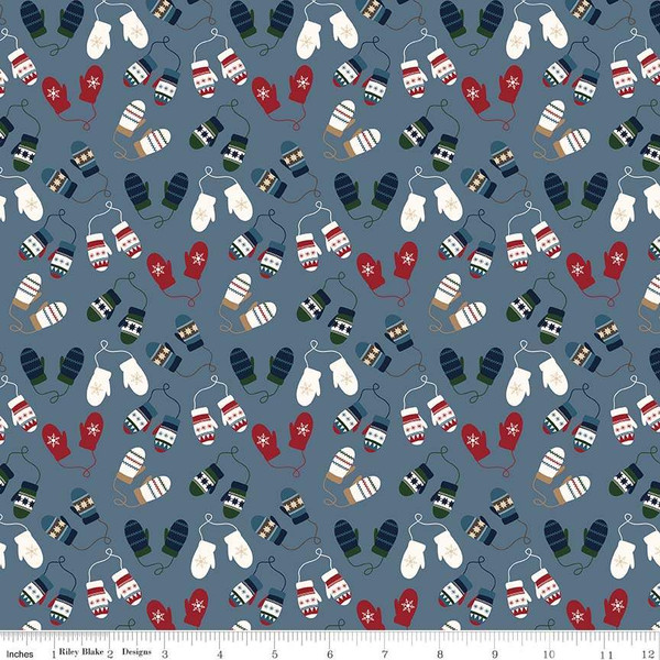 Flannel Let it Snow Mittens Blue F7772