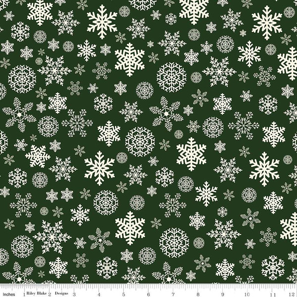 Flannel Christmas Delivery Snowflakes Green