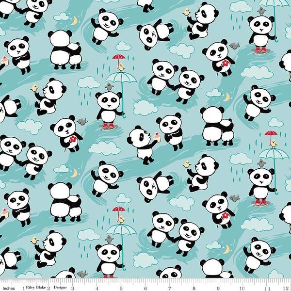 Flannel Panda Love Toss  F7782-Aqua - 5/8 yd