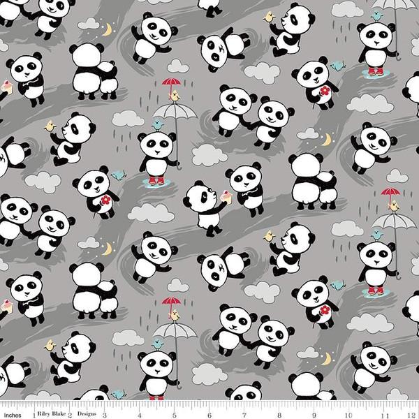 Flannel Panda Love Toss  F7782-Gray