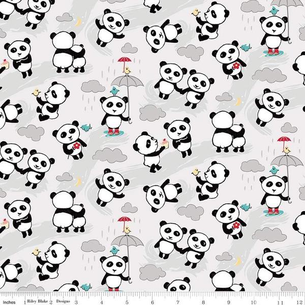 Flannel Panda Love Toss  F7782-LtGray